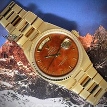 Rolex Day-Date Oysterquartz President 18k Gold Wood Dial Mens...