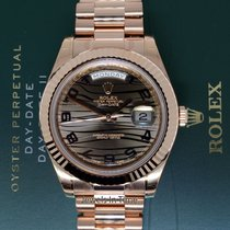 Rolex Mens Day-Date II 18k Pink Gold President Bronze Wave...