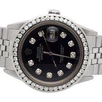 Rolex Mens Stainless Steel Rolex Datejust 36MM Jubilee Black...