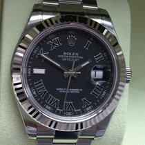 Rolex Datejust II Edelstahl / Weißgold Ref.116334 Schwarz R