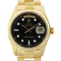 Ρολεξ (Rolex) 18078 18k  Gold President Black Diamond Dial Watch