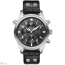 IWC Double Pilots Chronograph Black Dial Black Leather...