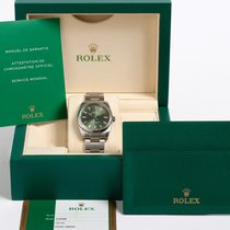 Rolex Oyster Perpetual 114200 Olive Green Box & UK Papers
