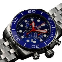 Deep Blue Sea Ram 500 Chrono Diving Watch Swiss Blu/wht Bezel...