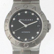 Bulgari Diagono Stainless steel watch black dial with diamonds