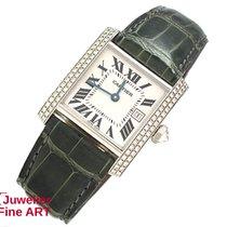 Cartier Tank Francaise 18K/750 Weißgold/Leder + Brillanten -Quarz