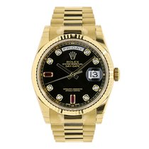 Rolex DAY-DATE 36mm 18K Yellow Gold President Diamond Ruby Dial