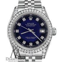 Rolex 26mm Datejust Blue Vignette Genuine Diamond Numbers Lugs...
