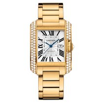 Cartier Tank Anglaise 18K Solid Yellow Gold Automatic Diamods