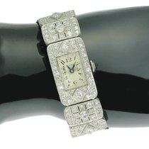 Stylish ladies platinum Art Deco wrist watch with 3.60 crt d...