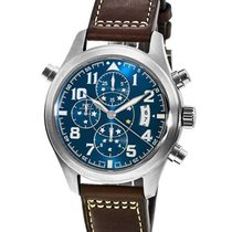 IWC IW371807 Pilots Double Chronograph in Steel - on Brown...