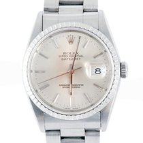 Rolex Mens SS Datejust - Silver Stick Dial/Oyster Band - 16220