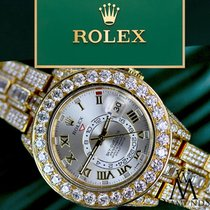 Rolex Diamond Rolex Sky-dweller 18k Yellow Gold 42mm Silver...