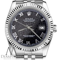 Rolex 26mm Datejust Black Jubilee Roman Numeral Dial Stainless...
