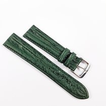 Omega Leather strap 20mm green with pin buckle