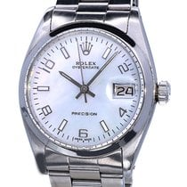 Rolex Oysterdate Precision Steel Vintage Lady Pearl Dial 34 mm
