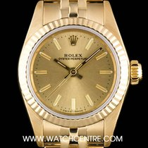 Rolex 18k Yellow Gold Champagne Baton Dial Non-Date Ladies 67198