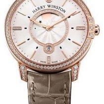 Harry Winston Midnight Moon Phase Quartz Diamonds Leather 18K...
