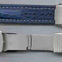 Leder-Armband 18mm blau/schwarz, Edelstahl Sicherheitsfaltschl...
