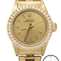 Rolex Oyster Perpetual 14K Gold Auto Custom Diamond Dial Watch