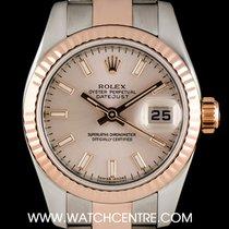 Rolex Steel & Rose Gold Rose Baton Dial Datejust Ladies...