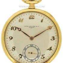 Patek Phillppe 18k yellow gold Pocket watch. Size 45mm. Silver...