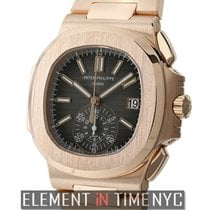 Patek Philippe Nautilus Chronograph 18k Rose Gold 41mm Black Dial