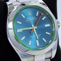 Rolex Milgauss 116400gv Oyster Perpetual Z Blue Dial Green...