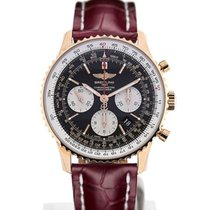 Breitling Navitimer 01 43 Gold Case Red Crocodile Leather...