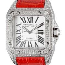 Cartier Santos 100 Large Diamond Set Red Leather Strap W20073X8