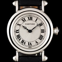 Cartier Platinum Silver Guilloche Dial Diabolo Mid-Size...