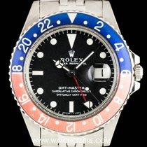 Rolex S/S Rare Long E Matte Black Dial Pepsi Bezel GMT 1675