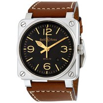 Bell & Ross Men's BR0392-ST-G-HE/SCA Aviation Steel ...