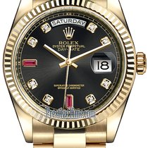 Rolex Day-Date 36mm Yellow Gold Fluted Bezel 118238 Black...