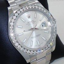 Rolex Datejust II 2.35ct Diamonds Bezel Silver Dial Stainless...