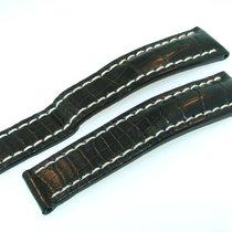 Breitling Croco Leder Armband Schwarz 20/18 Mm Für Faltschlies...