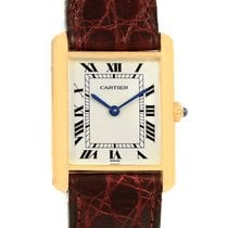 Cartier Tank Classic 18k Yellow Gold Burgundy Strap Unisex...