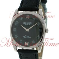 Rolex Cellini Danaos Men's, Black Dial - White Gold on Strap