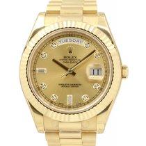 Rolex Day-Date II 218238-GLDDFP 41mm Champagne Baquette...