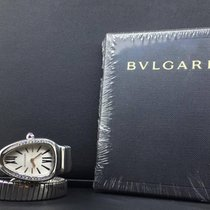 Bulgari Serpenti 35mm 1 Row Steel Diamond Bezel Silver Dial ...