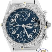 Breitling Chronomat Chronograph Blue 38mm Diamond Stainless...