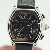 Cartier Roadster Chronograph Black Stainless Steel Genuine...