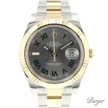 Rolex Datejust II Rolesor Slate Roman Fluted NEW