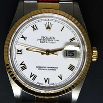 Rolex Datejust 18k Yellow Gold/Steel White Roman Dial Mens...