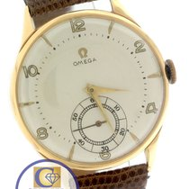 Omega 18K Yellow Gold 36mm Sub Dial Genuine Lizard Band Watch
