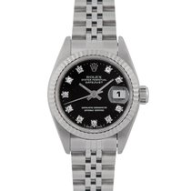 Rolex Datejust Ladies Steel with Black Diamond Dial, 79174 Papers