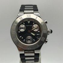 Cartier Must 21 Chronoscaph Black Rubber Steel 32mm 2996...