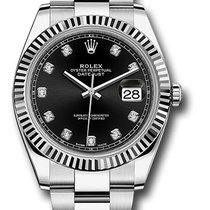 Rolex Datejust 41 Steel & White Gold Fluted Bezel Oyster...