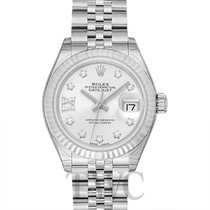 Rolex Lady-Datejust 28 Silver 18k White Gold/Steel Dia 28mm -...