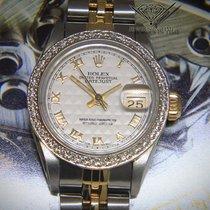 Rolex Datejust 14k Gold/Steel Pyramid Dial Diamond Bezel...